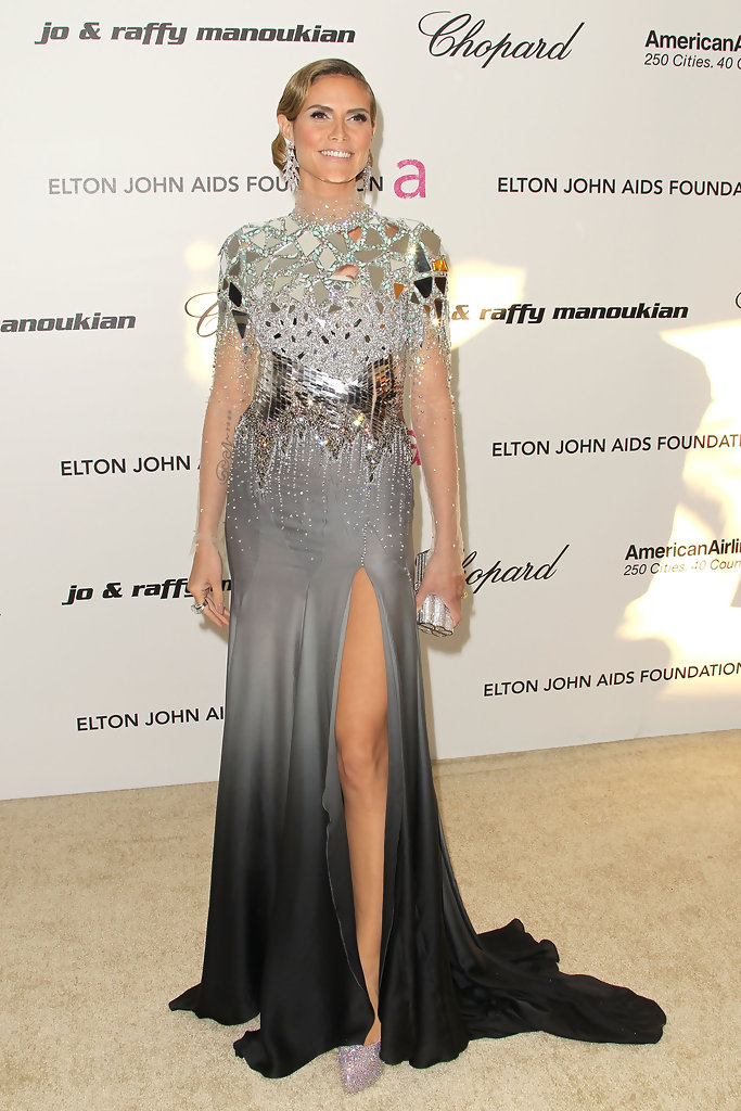 TV personality Heidi Klum arrives at the 19th Annual Elton John AIDS Foundation's Oscar viewing party held at the Pacific Design Center on February 27, 2011 in West Hollywood, California.