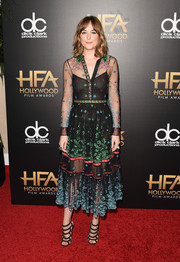 Dakota Johnson was whimsical, chic, and sexy all at once in this sheer, embellished shirtdress by Gucci at the Hollywood Film Awards.