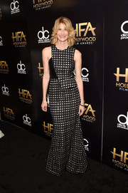 Laura Dern was all about modern glamour in an asymmetrical black-and-white grid-print gown at the Hollywood Film Awards.