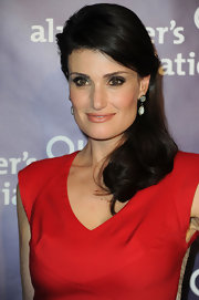 Actress Idina Menzel attended the 19th Annual A Night at Sardi's benefiting the Alzheimer's Association wearing Moonstone pavé drop earrings.