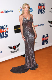 Camille Grammer arrived at the 19th Annual Race to Erase MS Gala wearing a glamorous sequined gown.
