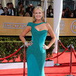 Nancy O'Dell Wore a Teal One-Shoulder Gown at the 2013 SAG Awards