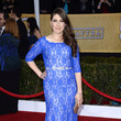 Mayim Bialik in Bright Blue Lace at the 2013 SAG Awards