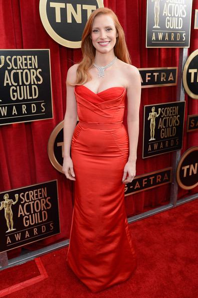 Jessica Chastain Wore Alexander McQueen at the 2013 SAG Awards