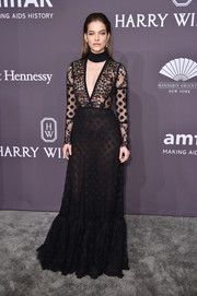 Barbara Palvin sizzled in a sheer, mixed-patterned gown by Elie Saab at the amfAR New York Gala.