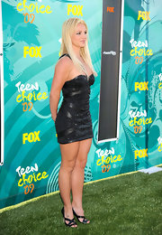 "Birtney's black leather ""Gesture"" criss-crossed heels complement her bandaged LBD. This strappy, sexy look reminded us of the old Britney but it was a little dull."