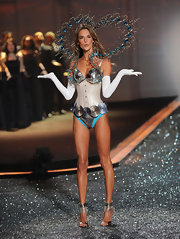 We apparently were as confused as Alessandra by this metallic corset at the V-Secret fashion show.