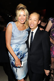 Nadja Swarovski was snapped with Designer Jason Wu at the 2010 CFDA Fashion Awards in an ice-blue dress, complete with pleated bodice and print pencil skirt.