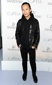 Alexander dresses in all black for the CFDA nomination announcements.