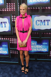 Carrie Underwood was a big winner at the CMT Awards. She walked the red carpet in a fuchsia pink Fall 2010 dress.