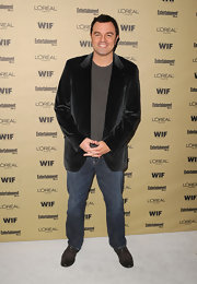 We like the addition of a velvet blazer to spruce up Seth's jeans for the pre-Emmy party.
