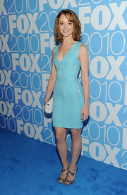 Jayma wore the cute snakeskin and pvc sandals to complete her printed sheath dress.