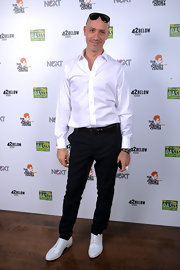 Robert Verdi showed off his classic style in a pair of white oxfords.