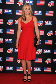 Lindsey Vonn chose this monochromatic red dress with a ruched waist and full circle skirt.