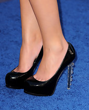 The 'Pretty Little Liars' actress wore patent leather pumps featuring clear marble embellishments on a spiked heel.