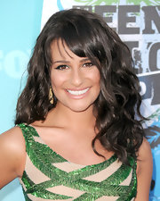 The 'Glee' star opted for long, voluminous waves and brow-skimming bangs.