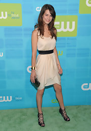 Lyndsy paired her cute strappy sandals with an on trend nude dress.