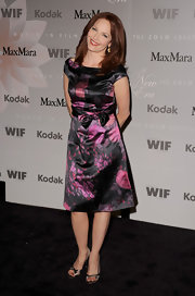 Amy Yasbeck showed off a printed day dress while hitting the Crystal and Lucy Awards.
