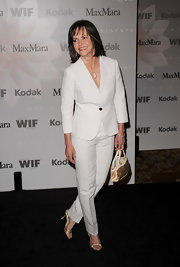 We loved the combo of gold heels with a white suit for Sally's Women in Film Awards' look.