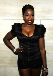 Estelle topped off her look with a cool set of bangle bracelets.
