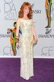Kathy Griffin wore a wrist full of arm candy at the 2011 CFDA Awards. She walked the purple carpet in stacked Starstudded, Starlet, Basic bangles and two Leaf resin cuffs in honey.
