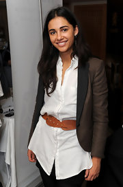 Naomi Scott was spotted at the DPA Golden Globe Gift Suite wearing a crisp white button-down shirt, pants, and a nice blazer.