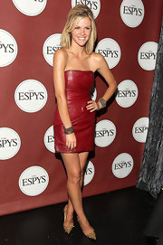 Brooklyn Decker opted for a tougher than usual aesthetic at the ESPYS in gold spiked Pigalili Pot Purri Strass pumps teamed with a sultry red leather mini.