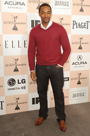 These camel-colored leather slip-ons were the perfect choice for Anthony Mackie's clean-cut look.
