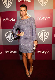 Molly Sims' gold satin peep toes were the perfect choice for her sequined lavender cocktail dress.