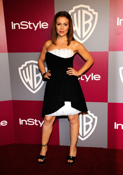 Alyssa Milano stepped out in black patent platforms.