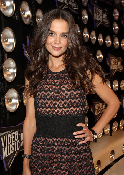 More Pics of Katie Holmes Long Wavy Cut (1 of 5) - Katie Holmes Lookbook - StyleBistro [red carpet,long hair,little black dress,shoulder,dress,brown hair,layered hair,premiere,cocktail dress,lace wig,style,katie holmes,2011 mtv video music awards,california,los angeles,nokia theatre l.a. live]