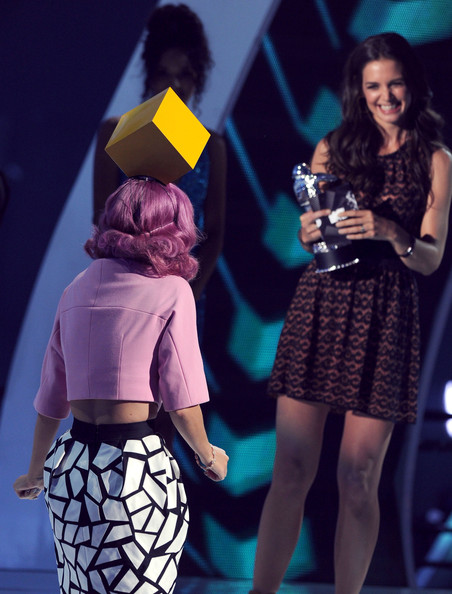 More Pics of Katy Perry Cropped Jacket (1 of 18) - Katy Perry Lookbook - StyleBistro [performance,fashion,event,talent show,leg,stage,fashion design,performing arts,thigh,dress,katy perry,katie holmes,2011 mtv video music awards,award,california,los angeles,nokia theatre l.a. live,show,video of the year]