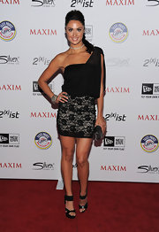 Katie Cleary got lacy in a black one-shoulder cocktail dress for the Maxim Hot 100 party.