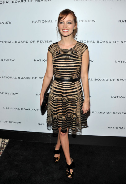 Ahna O'Reilly opted for a chic striped number at the National Board of Review soiree. The starlet paired the look with strappy sandals complete with metallic accents.