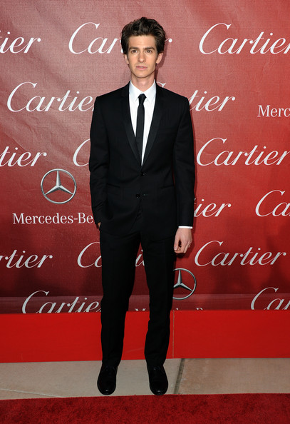 Andrew looked sharp in a slim fitting classic black suit and skinny tie.