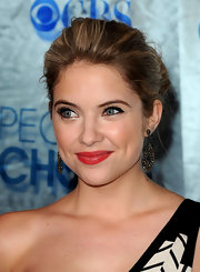 Ashley Benson paired her elegant updo with oxidized, gold and rose-cut diamond earrings.