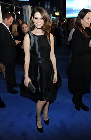 Lyndsey added a girlie touch to her shiny black cocktail dress with black patent Dolly pumps. The bow-adorned heels were the perfect complement to her red carpet look.