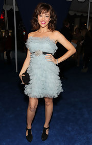 Autumn Reeser paired her frilly ice blue frock with sturdy black Orlan pumps.