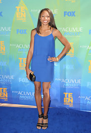 Allyson Felix stepped onto the blue carpet of the Teen Choice Awards in these strappy black heels.
