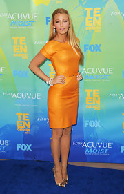 Blake Lively was a slice of heaven at the 2011 Teen Choice Awards in pointy animal print pumps. The exotic heels were an unexpected addition to her orange leather dress.