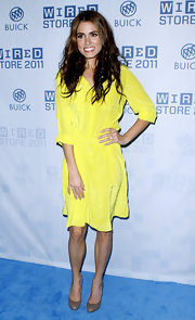 Nikki Reed lit up the Wired Store launch in a silky neon yellow shirtdress.