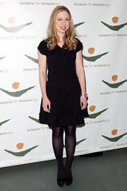 This demurely elegant little black dress was the perfect outfit on Chelsea Clinton.