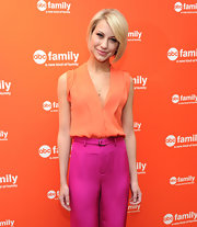Chelsea Kane was a doll at the ABC Family event in this sherbet top and pink silk trousers.