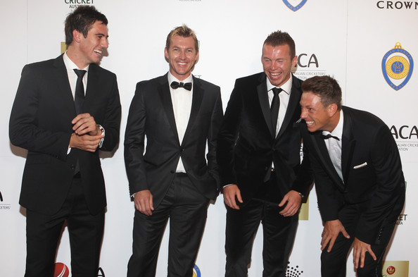 Brett Lee goofed around in style with a dapper blazer with thin lapels at the 2012 Allan Border Medal Awards.