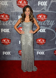 Jana Kramer sparkled at the 2012 American Country Awards in a beautiful silver beaded evening dress.
