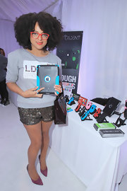 Marsha Ambrosius rocked a pair of glittery shorts at the 2012 BET Awards Celebrity Gifting Suite.