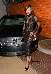 Wendy Raquel Robinson finished off her look with black peep-toe pumps that featured embellished stiletto heels.