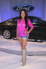 La La Anthony looked funky in her nude knee-high boots during her visit to the Ford Hot Spot Room.