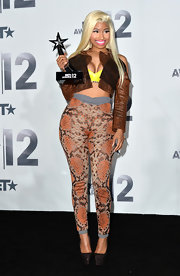 Nicki made a fashion statement at the BET Awards in these high-waist snakeskin leggings.