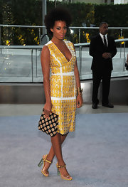 We're not sure what we love most, Solange's dress, bag or heels.